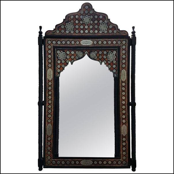Moroccan K Mirror, Framed with Orange Dye Camel Bone