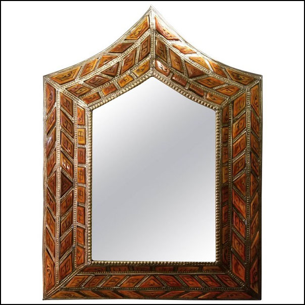 Arched Orange Camel Bone Mirror, Beveled.