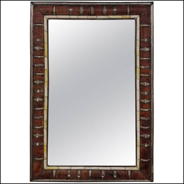 Moroccan Leather and Metal Inlaid Mirror, Rectangular