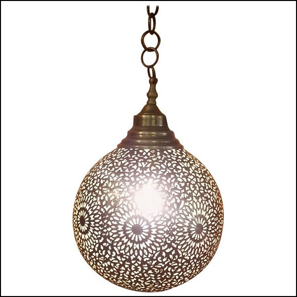Intricate Moroccan Copper Wall / Ceiling Lamp or Lantern, Ball Shape