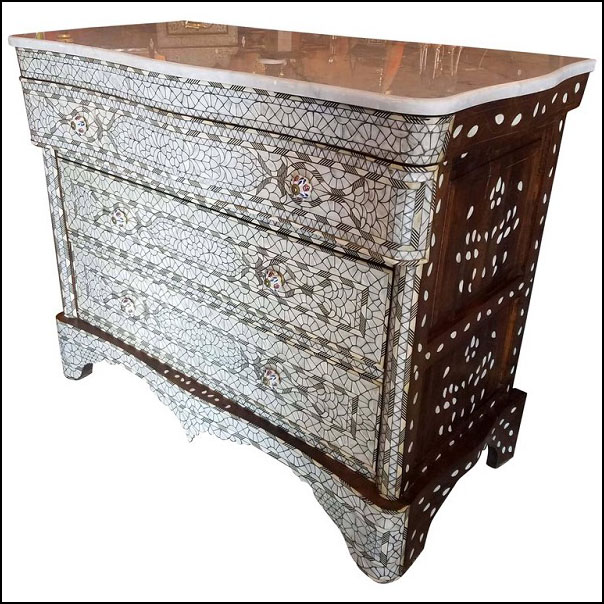 Large Syrian Mother-of-Pearl Walnut Wood Chest of Drawers, Ivory