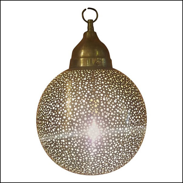 Moroccan Copper Wall / Ceiling Lamp or Lantern – Ball Shape