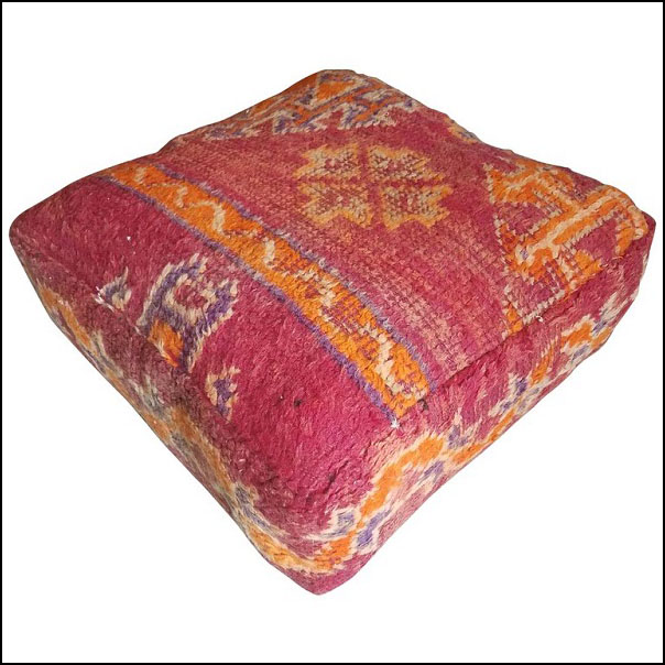 Moroccan Hanbal Poufs From The Atlas Mountains. Berber Poof / Moroccan Kilim Pouf or Ottoman