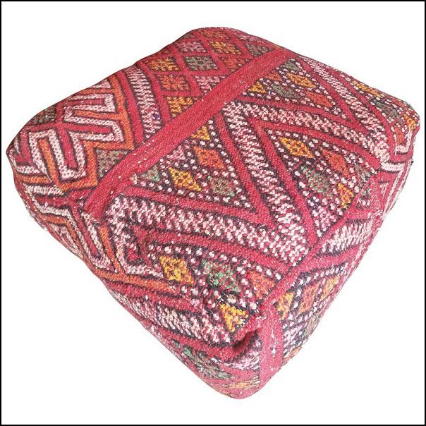Moroccan Hanbal Poufs from the Atlas Mountains. Berber Poof / Kilim Pouf or Ottoman. Red