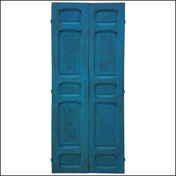 Moroccan Carved Cedar Wood Door-Double Panel Turquoise