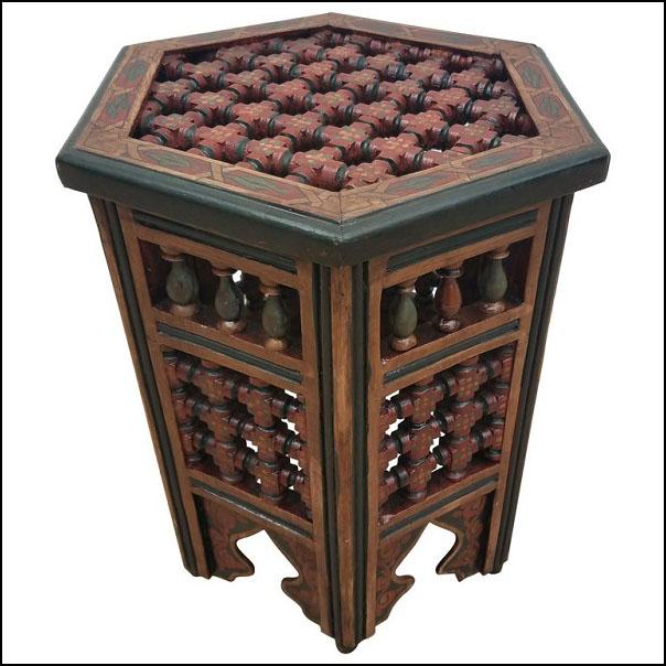 Burgundy / Green Hexagonal Hand-Painted Table, Rabat