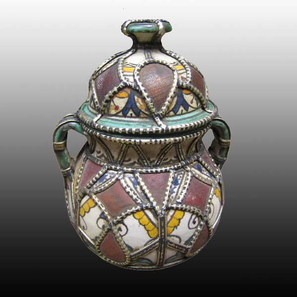 Oujda Moroccan Jar with Lid