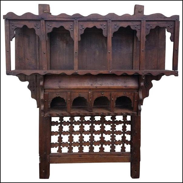 Moroccan Reclaimed Wood Wall Shelf, Ben 1