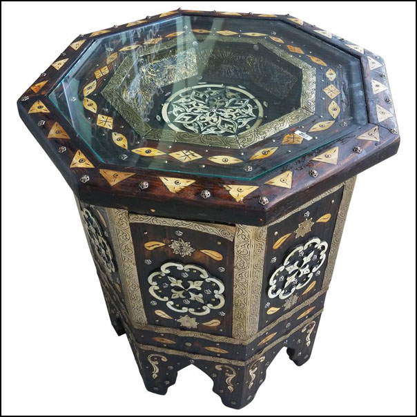 Moroccan Camel Bone and Metal Inlay End Table, Marrakech 1