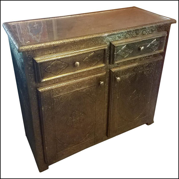 Metal Inlaid Moroccan Cabinet, Plenty of Storage