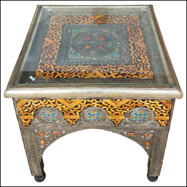 Metal Inlay, Resin, and Camel Bone Moroccan Side Table, Square