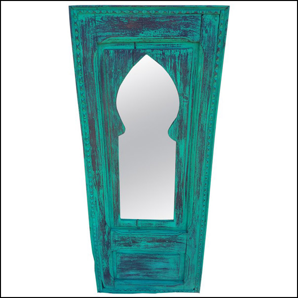 Moroccan White Wash Repurposed Wooden Frame, Mirror