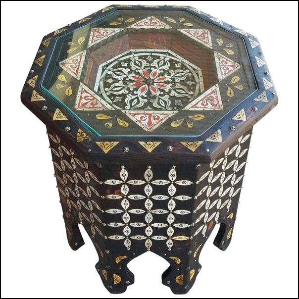Moroccan Camel Bone and Metal Inlay End Table, Red Touch
