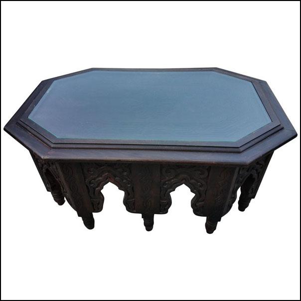 Moroccan Metal Inlaid Coffee Table, Long Hectagonal Shape