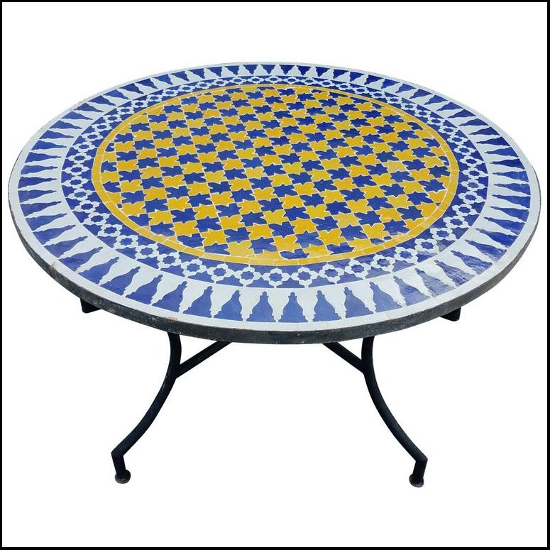 48″ Diameter Blue / White / Yellow Moroccan Mosaic Table