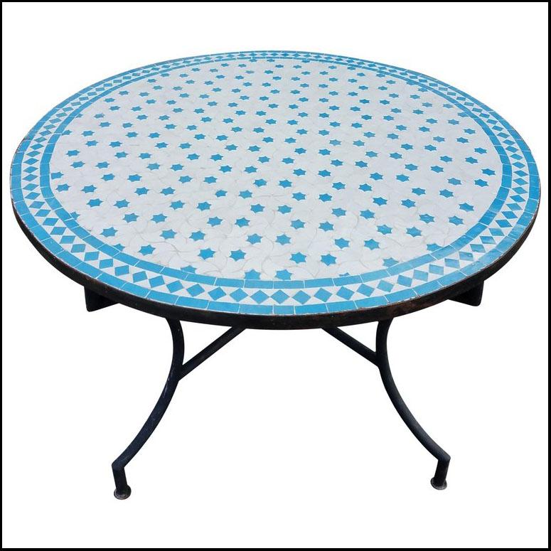 48″ Diam. White / Turquoise Rafraf Style Mosaic Table