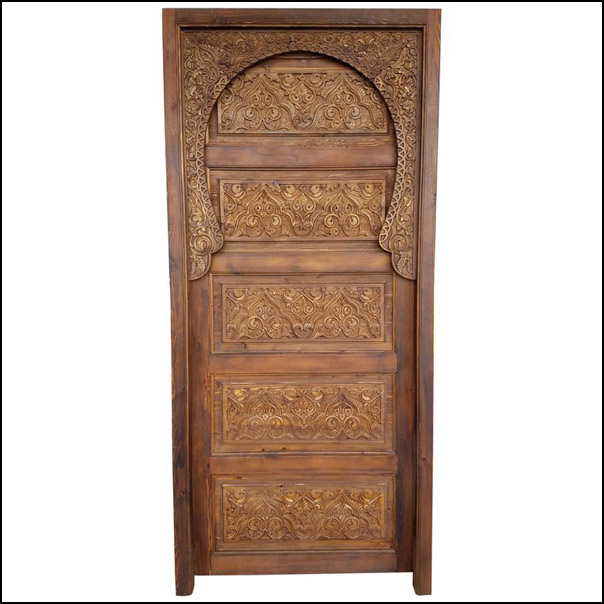 Single Panel Moroccan Carved Wooden Door