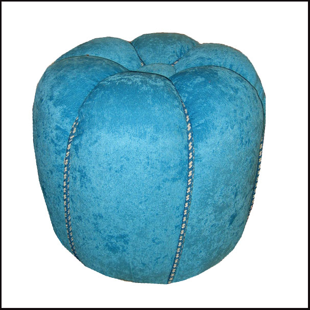Moroccan Turquoise Fabric Pouf