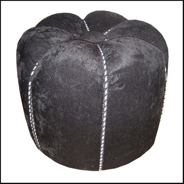 Black Moroccan Fabric Pouf
