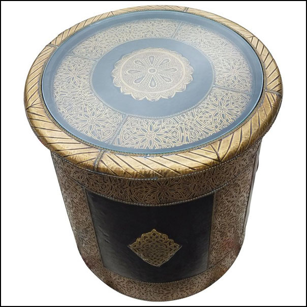 Moroccan Metal Inlay End Table, Cylindrical Shape