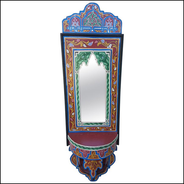 Moroccan Hand-Painted Mirror, SP Red