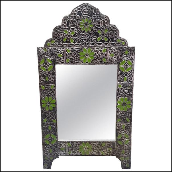 Ultra Arched Moroccan Metal Inlaid Mirror, Rabat, Green Motif