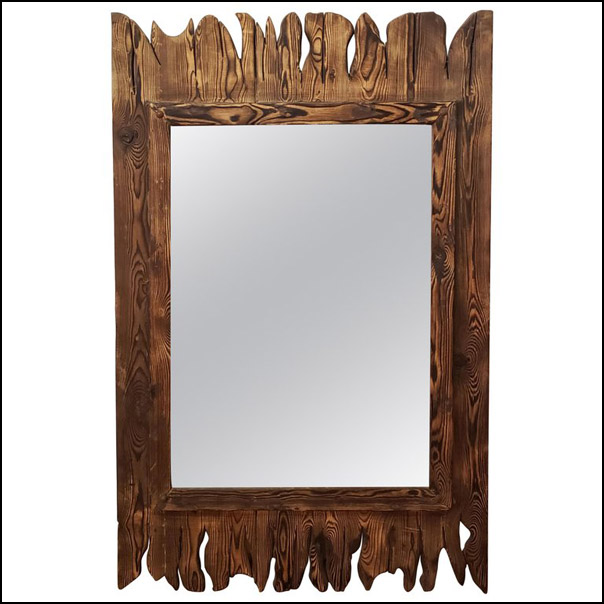 Moroccan Aged and Repurposed Wooden Mirror, Brown