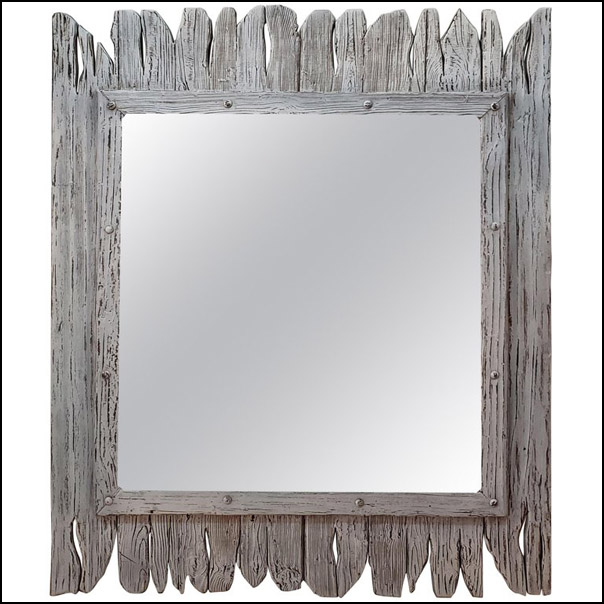 Moroccan White Washed and Repurposed Wooden Mirror