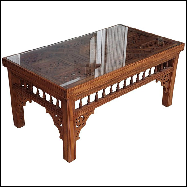Moroccan Rectangular Coffee Table, Cedar Wood