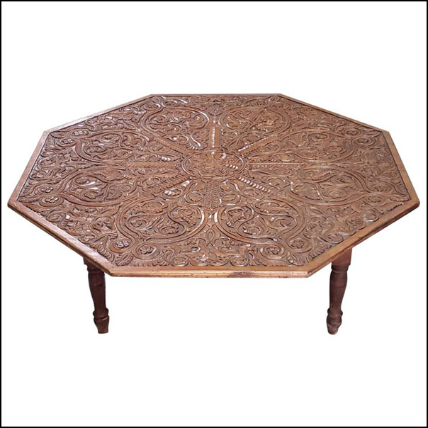 Moroccan Wooden Coffee Table, Extra Carving!