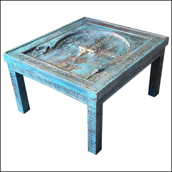 Moroccan Wooden Coffee Table, Blue Wash