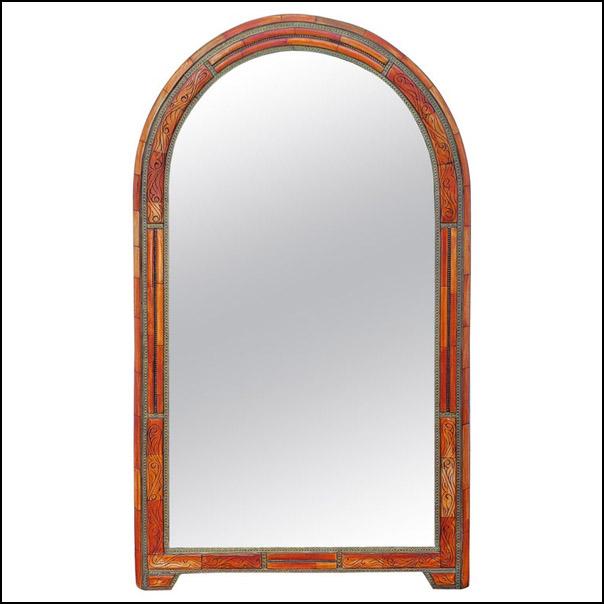 Arched Moroccan Camel Bone Mirror, Orange Dye
