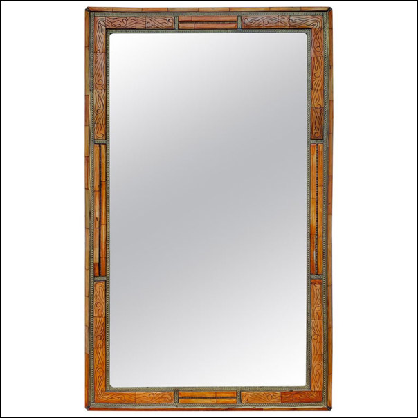 Rectangular Moroccan Camel Bone Mirror – Orange Dye