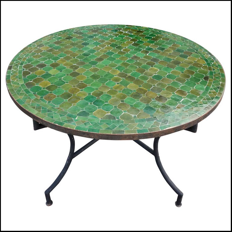 48″ Diam. Tamegroute Green Moroccan Mosaic Table
