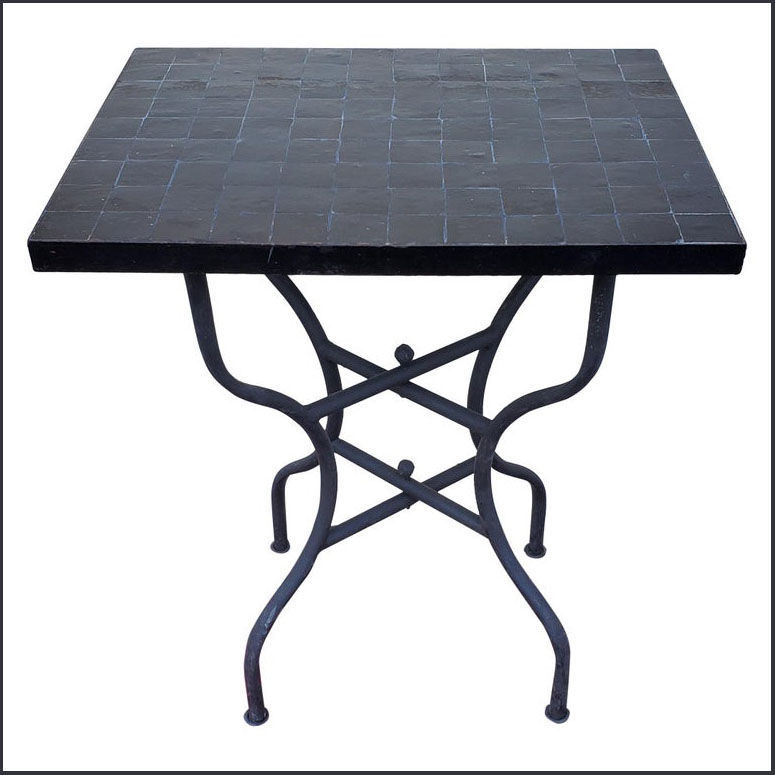24″ x 18″ All Black Moroccan Mosaic Table