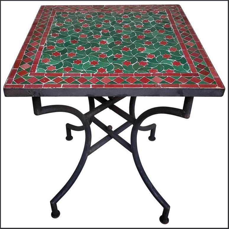 24″ Sq. Green / Burgundy Moroccan Mosaic Table
