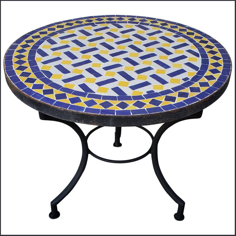 24″ Diam. Blue / WHite / Yellow Moroccan Mosaic Table