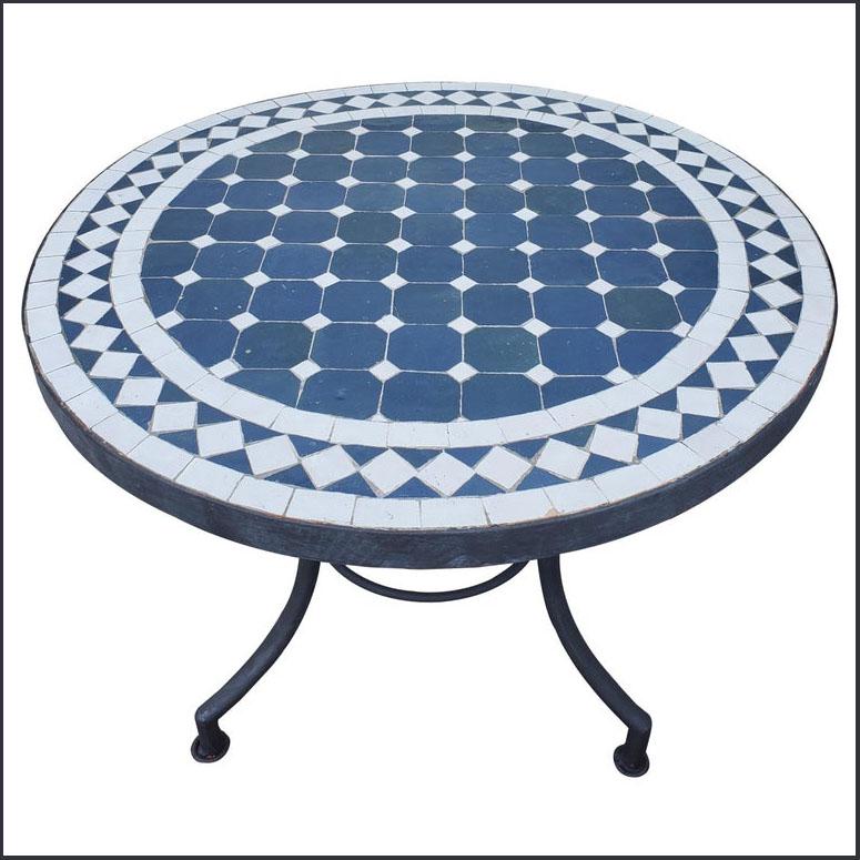 24″ Diam. Blue / White Moroccan Mosaic Table Top