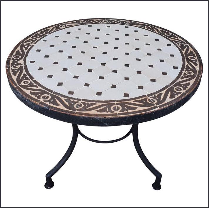 24″ Diam. White / Brown Moroccan Mosaic Table
