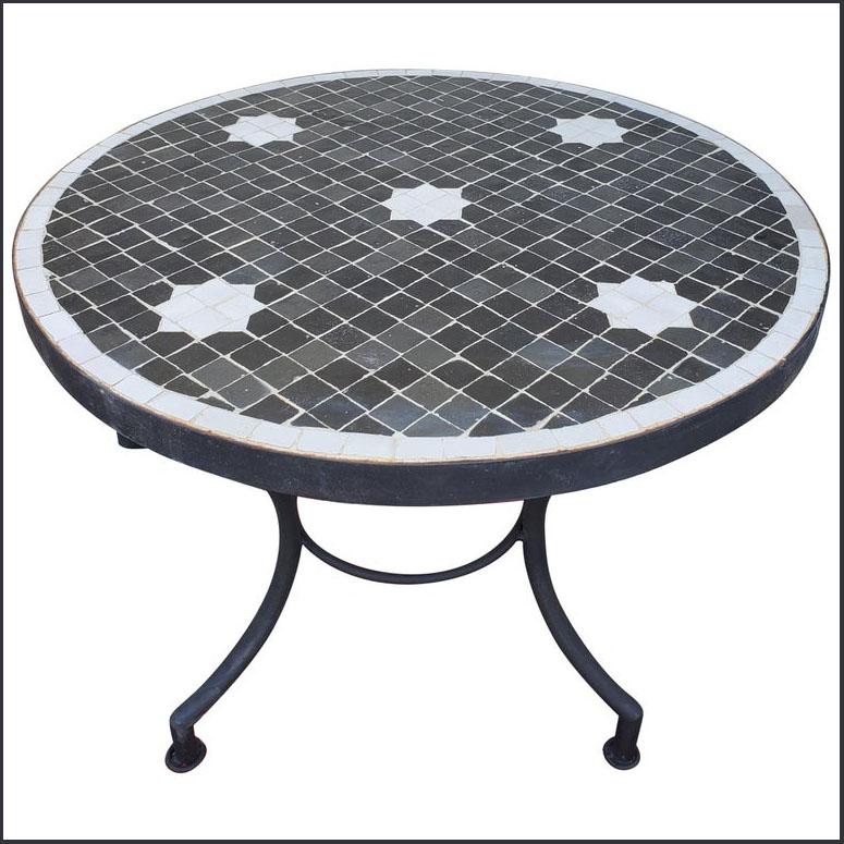 24″ Diam. Black / White Moroccan Mosaic Table