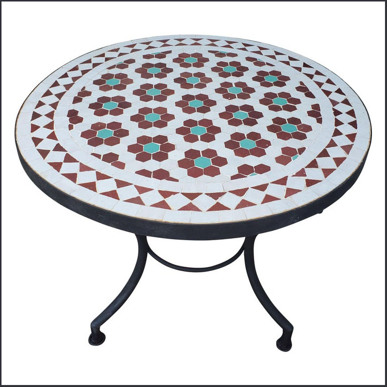 24″ Diam. Burgundy / Green / White Moroccan Mosaic Table