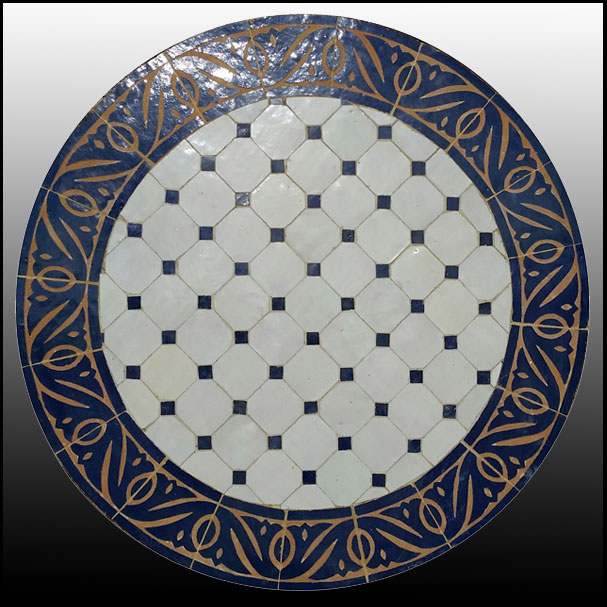 24″ White / Blue Moroccan Mosaic Table Top