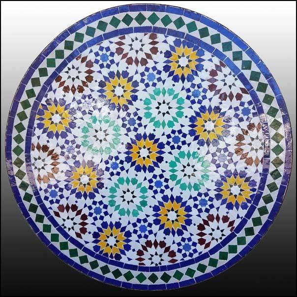 32″ Multicolor Moroccan Mosaic Table – Beldia