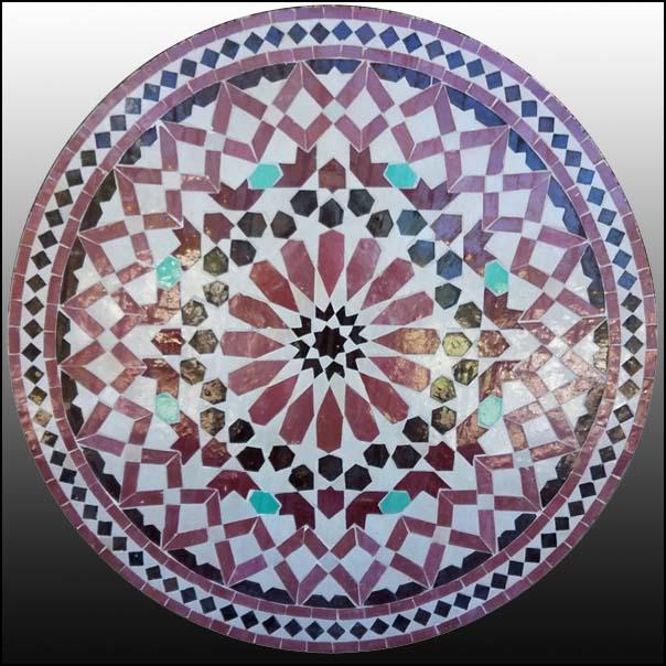 32″ Diam. Multicolor Moroccan Mosaic Table – Flower