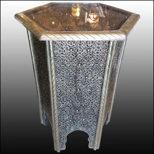 Moroccan Metal Inlaid Side Table High Top