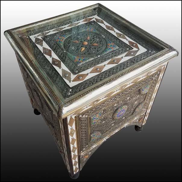 Ganza Metal Inlaid Moroccan Table, Marrakech
