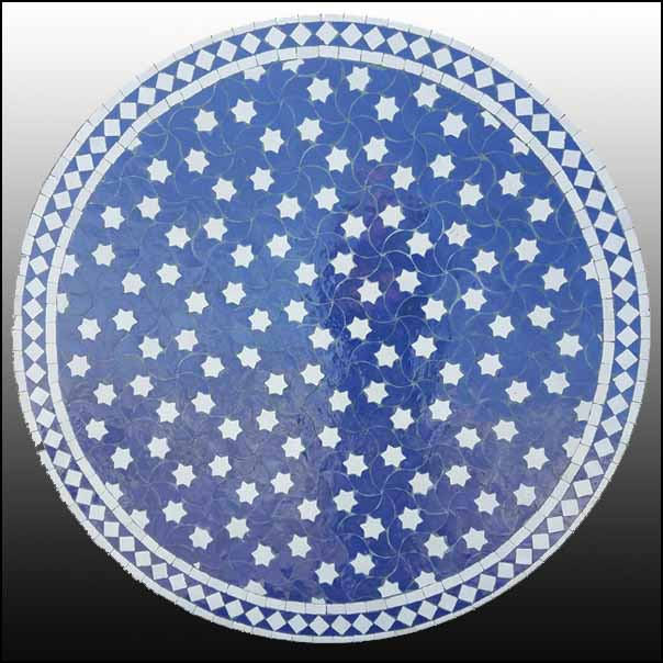 48″ Blue / White Rafraf Mosaic Table