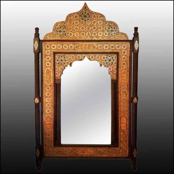 Riz All Metal and Camel Bone Moroccan Mirror