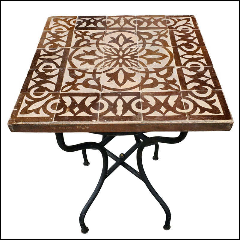 20″ Square Moroccan Mosaic Table – Brown/Natural