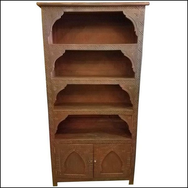Cedar Wood Moroccan Bookcase, Carved Brown